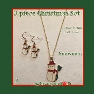 3 Piece Jewelry Set Christmas Snowman